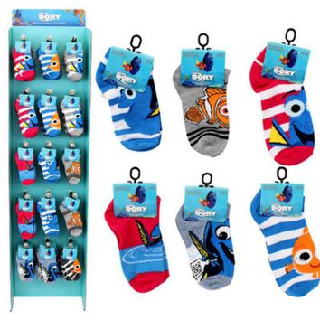 Kids Finding Dory No-Show Sock Display - CASE OF 120