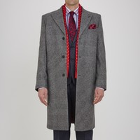 Claxton Grey Check Single-Breasted Wool Coat