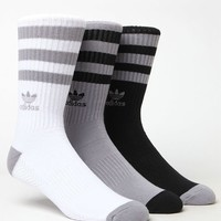 adidas Roller 3 Pack Black White and Grey Crew Socks at PacSun.com