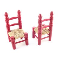 Set of 2 Wooden Painted Red Chairs, Miniature Ladder-back Wood Doll Chairs with Woven Seats