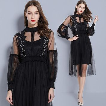 Women's Long Sleeve Lace patchwork Fit and Flare Dress sexy Perspective elegant Mesh Dress