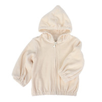 Hooded Velour Jacket - Beige