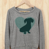 Dachshund Heart Slouchy Pullover - Athletic Heather Raglan Sweatshirt