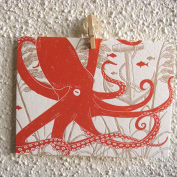 Letter Press Thank You Greeting Cards Nautical by CraftColorfully