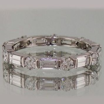 3.50 Ct Alternating Round & Emerald Cut Eternity Wedding Band In 14K White Gold
