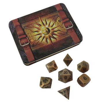 Cleric's Prayer Book with Antique Gold Color with Black Numbering Metal Dice