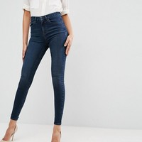 ASOS 'SCULPT ME' High Waisted Premium Jeans in Dark Wash Blue at asos.com