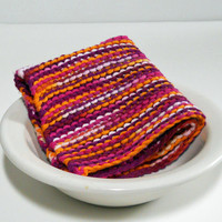 Large Hand Knitted Cotton Wash Cloth, Hand Knitted Cotton Dish Cloth, Hand Knitted Dust Cloth, multi-colored, colorful wash cloth