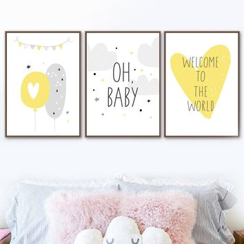Yellow Heart Balloon Quote Nordic Posters And Prints Wall Art Canvas Painting Cartoon Pop Art Wall Pictures Baby Kids Room Decor