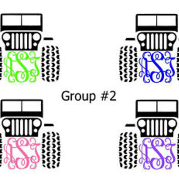 Monogram Initials Custom JEEP Vinyl Diecut Decal Car Wndw,Laptop,More FREE SH
