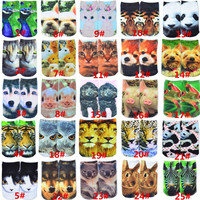 free shippng 2015 new 1 Pair BOY&Girl's 3D Animals Printed Animals Multiple Colors Unisex Cute Cotton Animal Ankle Socks SOCK005