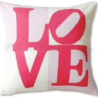 Love Pink Cashmere Pillow | Handmade Pillows