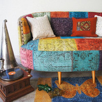 Colorful Patchwork Sofa, Sofa, Long Sofa, Upholstered Sofa/CUSTOM MADE