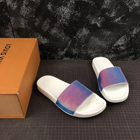Louis Vuitton Waterfront LV White Sandals Slippers Sliders Summer Shoes Flip Flop - Best Deal Online