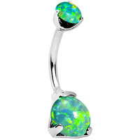 Double Green Synthetic Opal Internally Threaded Belly Ring 3/8 | Body Candy Body Jewelry