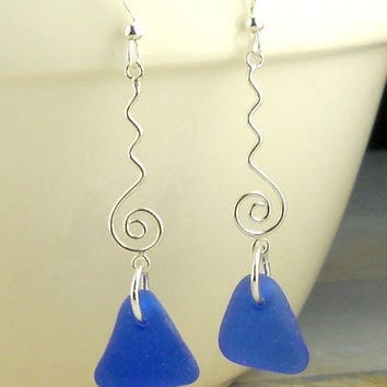 Eco Friendly Sterling Silver Genuine Cobalt Blue Sea Glass Earrings