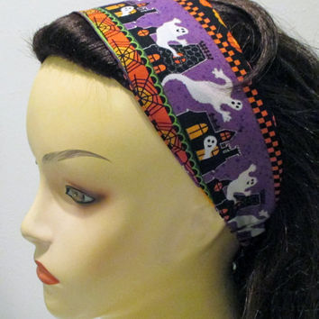 Reversible Halloween Headband with Ghosts Haunted House Jack O Lanterns and Bats
