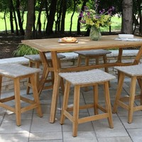 Teak Wood Nash Outdoor Counter Height Dining Table