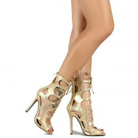Gold Caged Cut-out Heels Gladiator Sandals