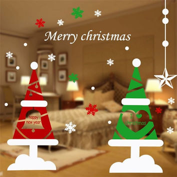 DIY Christmas Wall Stickers Home Decor Snow Christmas Tree Window Glass Decorative Wall Decal