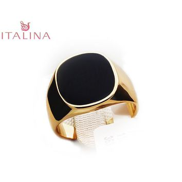 Punk Mens Silver / Rose Gold Rings Brand Italina  boho Fashion Wedding Ring jewellery Square Black Vintage Jewelry Gifts for Men