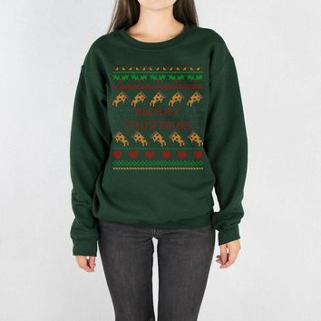 Merry Crustmas Pizza Sweater Crewneck Sweatshirt