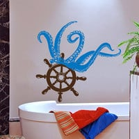 Octopus Wall Decal Sea Animal Vinyl Stikers Steering Wheel Art Mural Home Interior Living Room Decals For Bathroom Spa Nautical Decor KY31