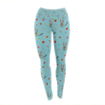 "Cristina Bianco Design ""Cute Raccoon Pattern"" Blue Gray Illustration Yoga Leggings"