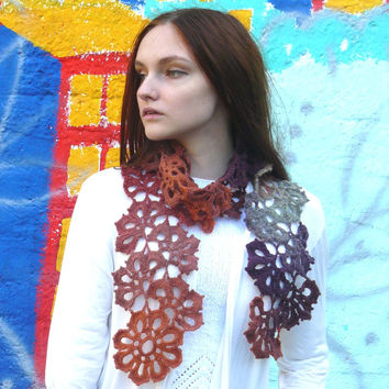 Colorful crochet scarf Flowers scarf wrap Autumn colors scarf Multocolor scarf Eco wool scarf Lace scarf Wool wrap Womens accessory For her