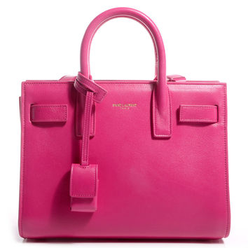 Saint Laurent Fuchsia Pink Calf Leather Classic Small Sac De Jour Satchel Bag