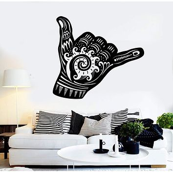 Vinyl Wall Decal Shaka Sign Hang Loose Surfing Wave Stickers Mural Unique Gift (ig4365)