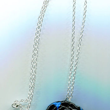 clay rose pendant necklace blue and black flower pendant glittery handcrafted jewelry