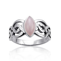 925 Sterling Silver Genuine Rose Quartz Stone Celtic Double Infinity Knot Ring - Nickle Free Size 9
