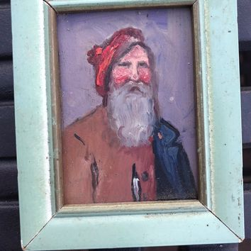 1969 Old Antique Oil Painting Portrait Rome Italy Miniature Artist