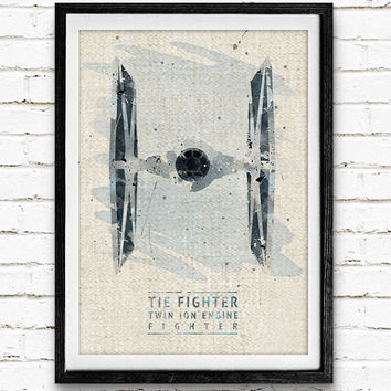 Star Wars TIE Fighter Watercolor Art Print, The Fighter Art Print, Watercolor Poster, Home Decor, Not Framed, Buy 2 Get 1 Free!