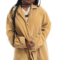 Vintage 90's Beat-Up Leather-Trimmed Professor Shacket - M/L