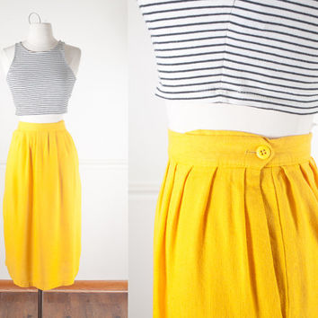1970s Yellow Pencil Skirt / 70s Skirt / Vintage Secretary Skirt / 80s Skirt / High Waisted Midi Skirt / Boho Chic Skirt / Minimalist Fashion