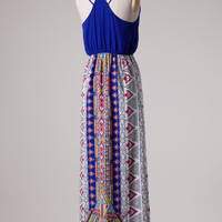 Royal Blue Aztec Maxi Dress