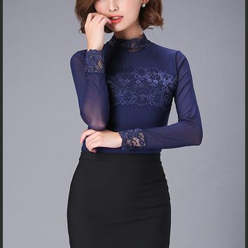 Chicloth Sexy Hollow High Collar Lace Botycon Blouse