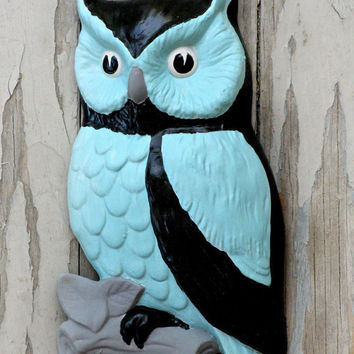 Vintage 1960s Lefton Ceramic Owl Wall Decor Plaque Redo Repurpose Upcycle