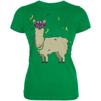 PEAP Mardi Gras Llama Beads Mask Juniors Soft T Shirt