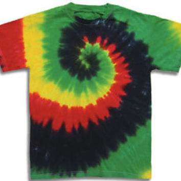 Hand-dyed TIE DYE T-SHIRT Rasta GREEN BLACK RED YELLOW SWIRL M 3X Aardvark Annie