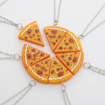 1 Piece Pizza Pendant Friendship Necklaces