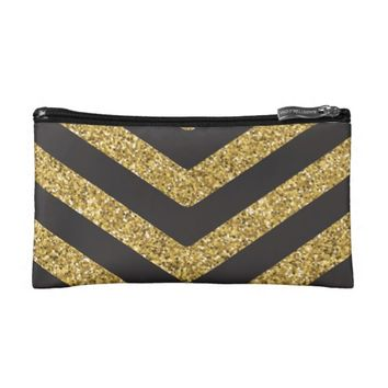 Black and Gold Glitter Chevron Cosmetics Bag