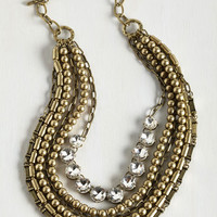 Statement Yes You Glam Necklace in Rhinestone by ModCloth