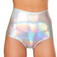 Holo Foil High Waist Shorts | Hologram Shorts from J. Valentine