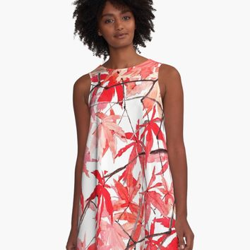 'red orange maple leaves 2' A-Line Dress by ColorandColor