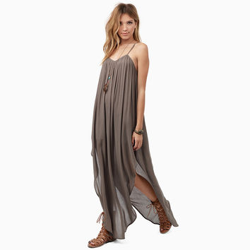 Strappy Lace Pleated Maxi Slit Dress
