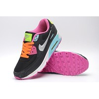 NIKE AIR MAX 90 fashion ladies men running sports shoes sneakers F-PS-XSDZBSH The black rainbow color