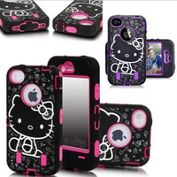 New Cute Hello Kitty Shockproof Hybrid Case Cover For iPhone 4 4S 5 5S 6 Plus